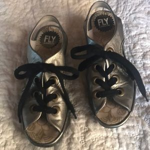 Fly London pewter gold sandals